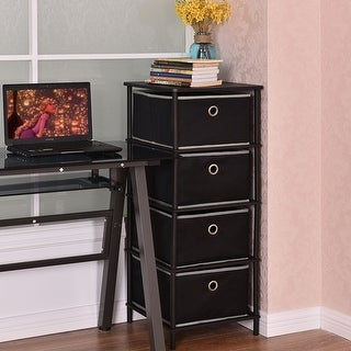 Costway 4 Tier Storage Side Table Clothes Books Organizer Bins Home Office W/4 Baskets