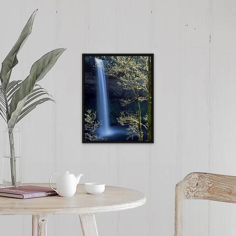"""Water falling into a creek, Silver Creek, South Falls, Silver Falls State Par"" Black Float Frame Canvas Art"