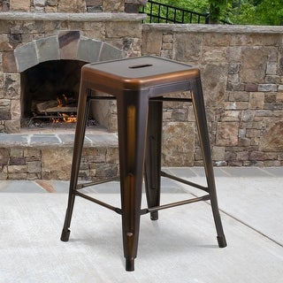 "Link to 24"" High Backless Distressed Metal Indoor-Outdoor Counter Height Stool Similar Items in Dining Room & Bar Furniture"