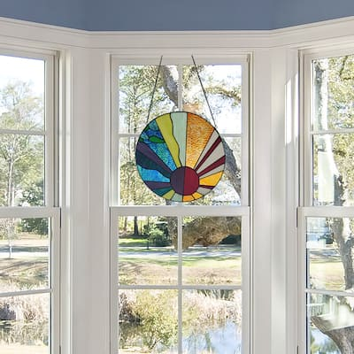 """River of Goods 12.75""""H Serenity Stained Glass Window Panel"""
