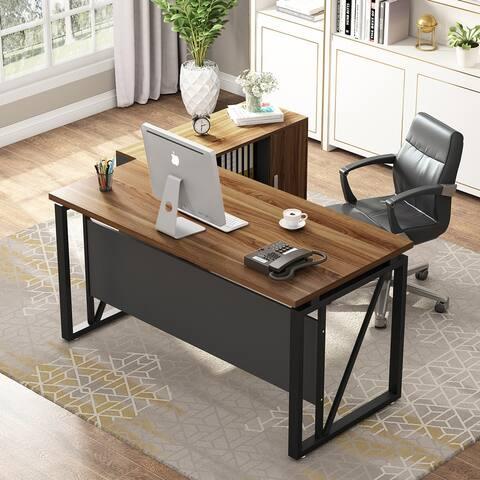 55 Inches Computer DeskLarge Office Desk Writing Table Workstation for Home OfficeDark Walnut +Black Metal Frame