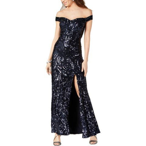 NW Nightway Womens Evening Dress Sequined Off-The-Shoulder - Navy