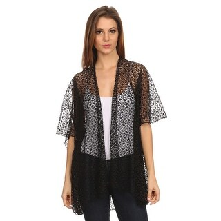 Link to Womens Lace Open Front Short Sleeve Poncho Similar Items in Scarves & Wraps
