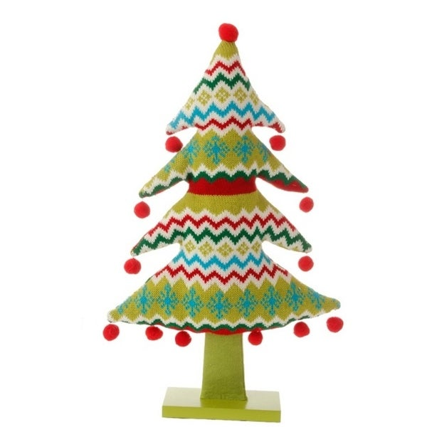 "19"" Merry & Bright Plush Knit Snowflake and Chevron Christmas Tree Table Top Decoration - green"