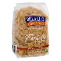 Delallo Organic Whole Wheat Farfalle Pasta - Case of 16 - 16 oz.