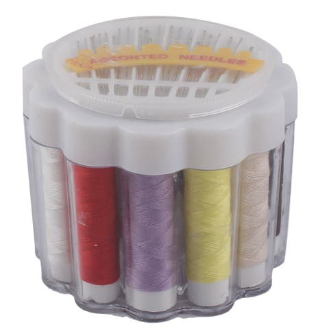Famliy Plastic Case Thread Spools Needlework Needles Sewing Kit White