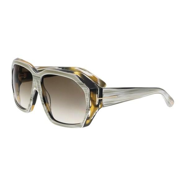 Tom Ford FT0266 62F ELISE Grey Horn Square Sunglasses - grey horn - 61-13-130