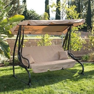 Belleze Outdoor Canopy Porch Swing Bed Hammock Tilt Canopy Sun Shade Steel Frame