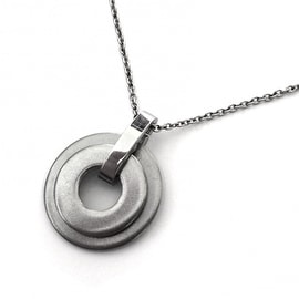 Loralyn Designs Brushed Stainless Steel Silver Circle Necklace