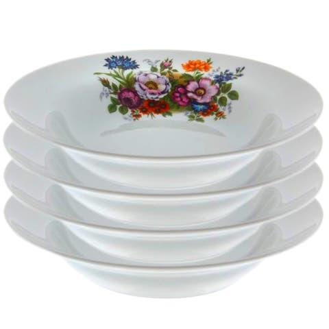 """STP-Goods Flower Bouquet Porcelain Soup Plate 9.4"""" (Set of 4)"""