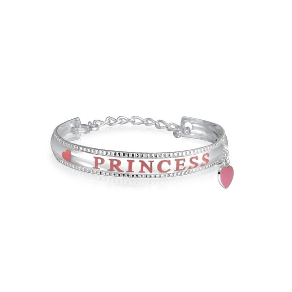 7f2e8226de97d Shop Small Pink Princess Message Word Heart Dangle Charm Bangle Cuff ...