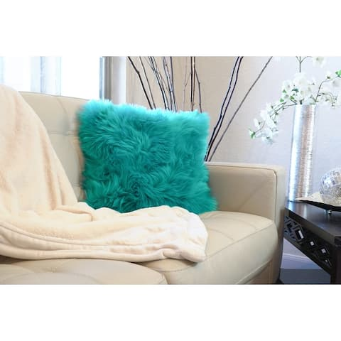 """Luxury Series Collection Textured Merino Style Fur Throw Fuzzy Pillow Cover for Couch, Bedroom, Sofa 18"""" x 18"""""""