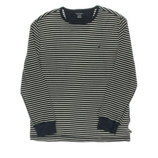 Nautica Mens In The Navy Striped Crew Neck Thermal Shirt
