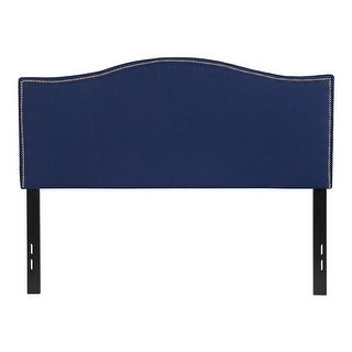 Offex Upholstered Full Size Headboard with Accent Nail Trim in Navy Fabric