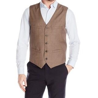 Perry Ellis NEW Brown Mens Size Medium M Slim Fit Dobby Suiting Vest