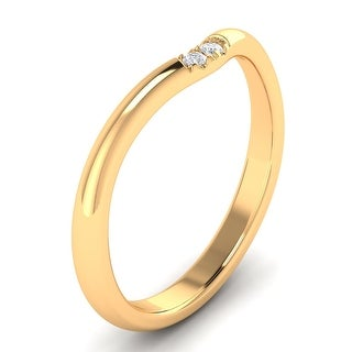 0.04 CTW  Two Stone Round Cut Curve Wedding Band In 14kt