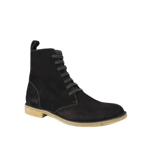 Bottega Veneta Men's Brown Suede Lace Up Side Zipper Boots 427383 2006