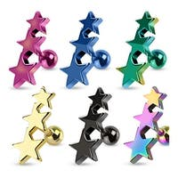 Three Stars Tragus/Cartilage Piercing Stud Ion Plated over 316L Surgical Steel (Sold Ind.)