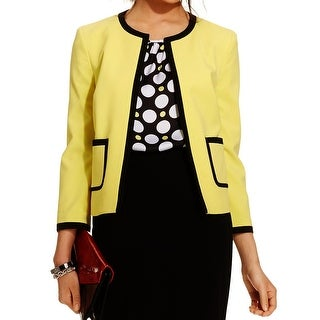 Nine West NEW Lemon Yellow Womens Size 14 Contrast Trimmed Jacket