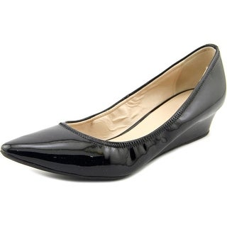 Cole Haan Elsie Luxe Women Open Toe Patent Leather Black Wedge Heel