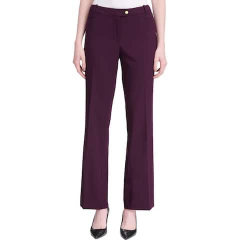 Calvin Klein Womens Petites Pants Modern Fit Mid-Rise - Aubergine