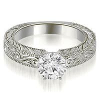 0.50 cttw. 14K White Gold Antique Round Cut Diamond Engagement Ring