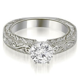 0.75 cttw. 14K White Gold Antique Round Cut Diamond Engagement Ring