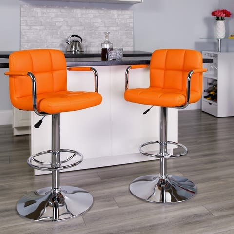 2PK Quilted Vinyl Adjustable Height Barstool with Arms and Chrome Base