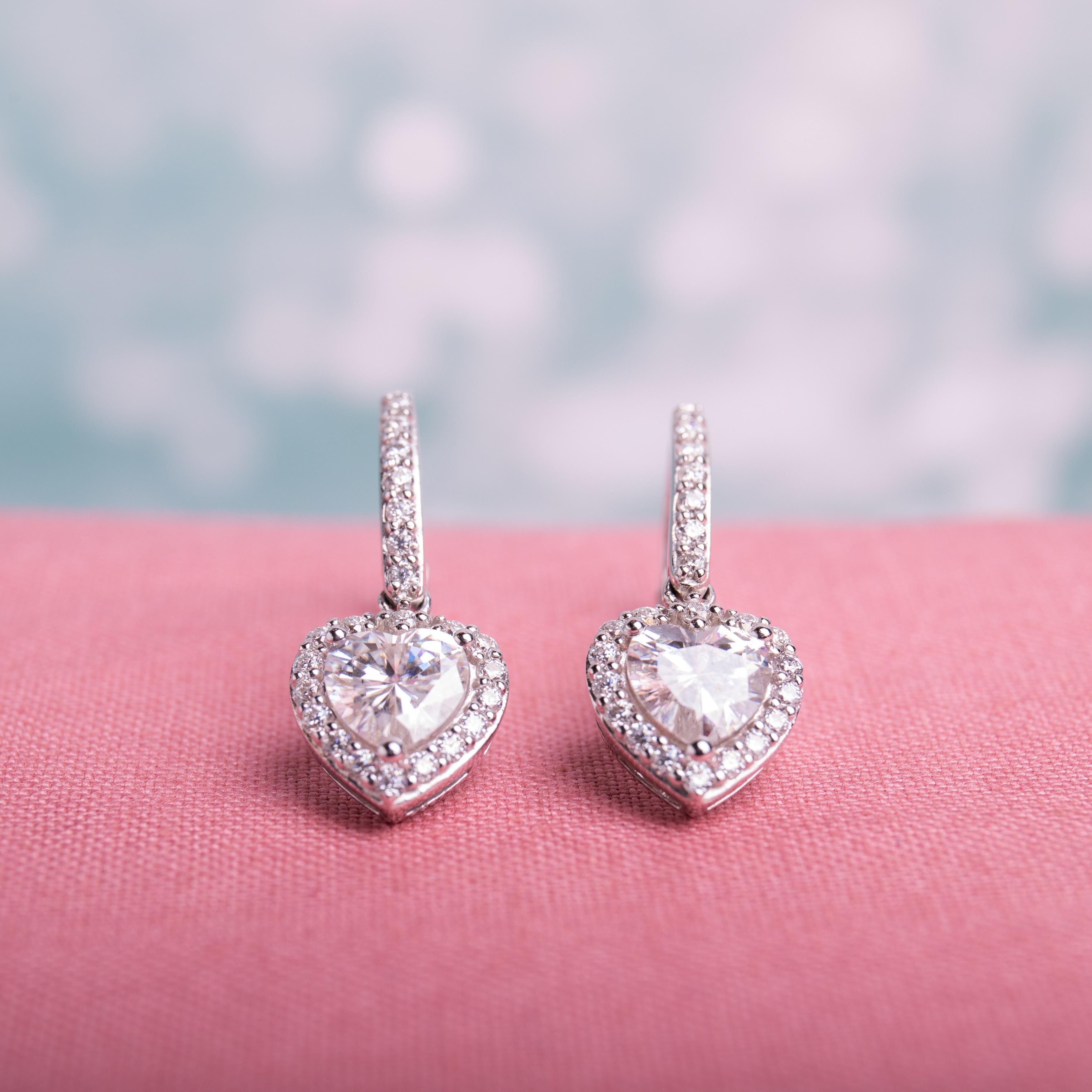 1Ct Round Cut Moissanite Chandelier Drop /& Dangle Earrings14K White Gold Finish