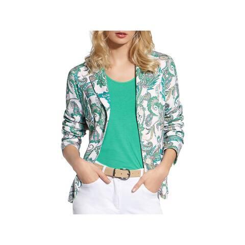 Basler Womens Plus Knit Blazer Paisley Office - White/Green Multi