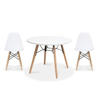 Overstock 2xhome Modern Accent Kids Toddler Children Side Armless Chair and Round Table Combo with Eiffel Natural Wooden Legs for Dining (White)