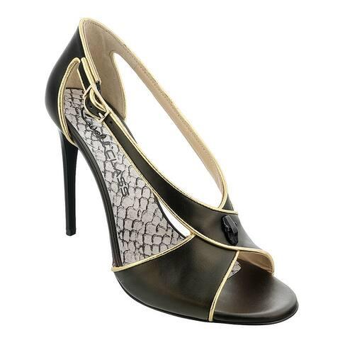 Roberto Cavalli Class Black/Gold Criss Cross High Heel Sandal-