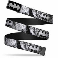 Batman Reverse Brushed Silver Cam Batman Face Bat Shield Sketch White Web Belt