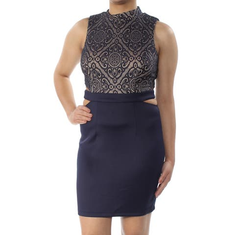 SPEECHLESS Womens Navy Lace Slitted Sleeveless Turtle Neck Above The Knee Body Con Party Dress Juniors Size: 7