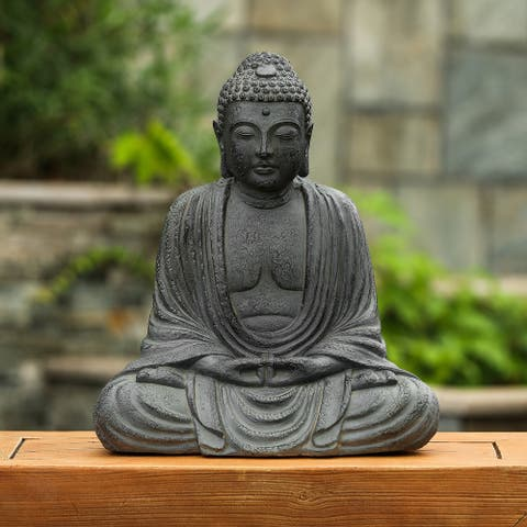 Gray MgO 17in. H Meditating Buddha Garden Statue