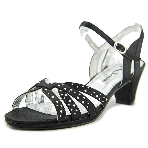 Nina Wendy Women Open Toe Canvas Black Sandals