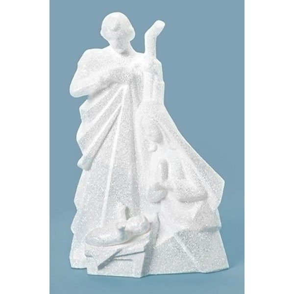 "7.5"" White Glittered Decorative Holy Family Christmas Nativity Figure"