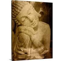 Cora Niele Premium Thick-Wrap Canvas entitled Buddha Lotus Golden - Multi-color