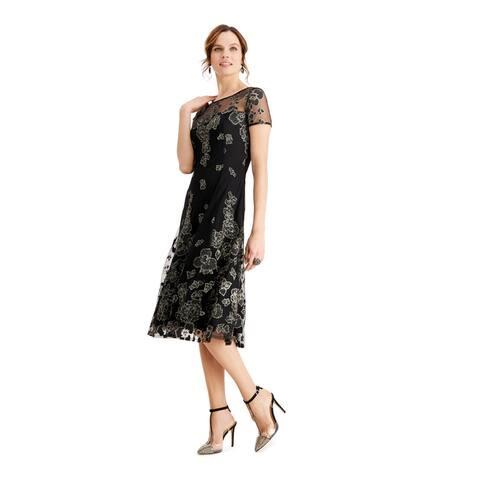 SLNY Womens Black Short Sleeve Midi Fit + Flare Formal Dress Size 6