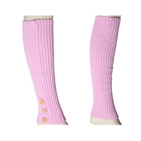 Women's Pink Solid Color Knit Leg Warmer w/ Button Accents LW1000