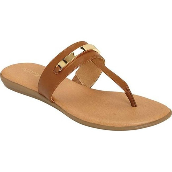 3b145be64249 Shop Aerosoles Women's On The Chlock Thong Sandal Tan Faux Leather ...
