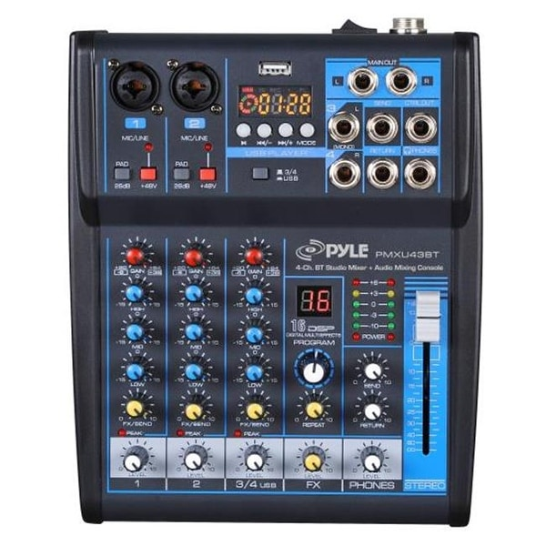 Pyle PMXU43BT 4 Channel Bluetooth Studio Mixer