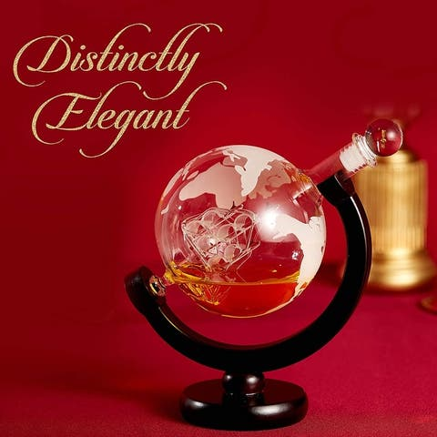 Cheer Collection Globe Etched Whiskey Decanter With Interior Hand-Crafted Glass Ship - 28oz