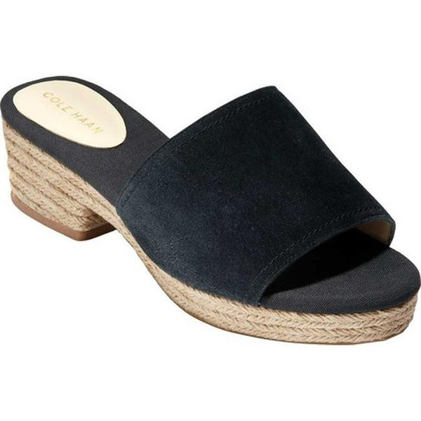 a9399944f62 Shop Cole Haan Women's Giselle Mid Espadrille Slide Black Suede - On ...