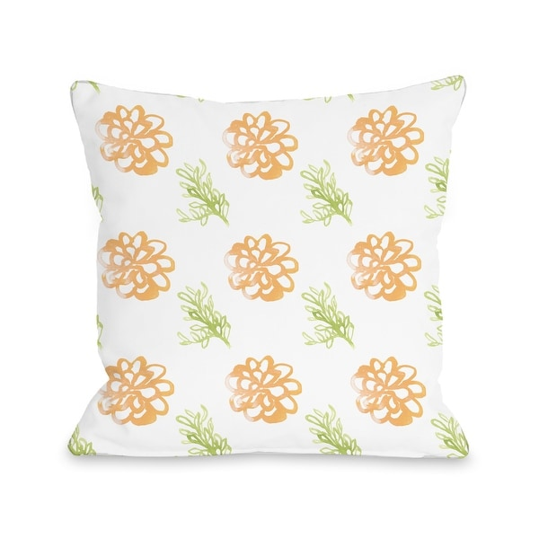 Frieda Floral Orange - Throw Pillow by June Erica Vess. Opens flyout.