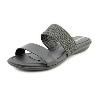 Hush Puppies Nishi Slide Women Open Toe Leather Black Slides Sandal