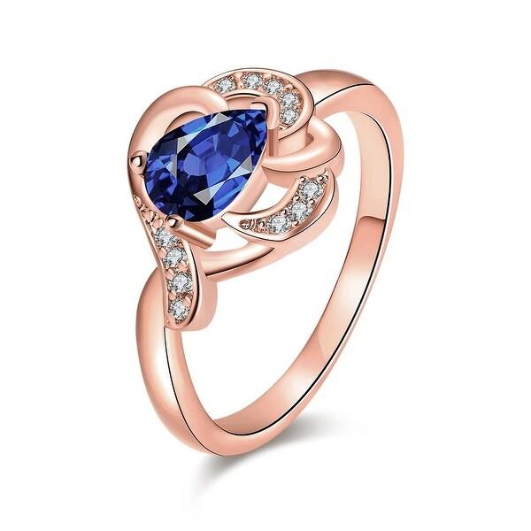 Rose Gold Triangular Saphire Gem Ring