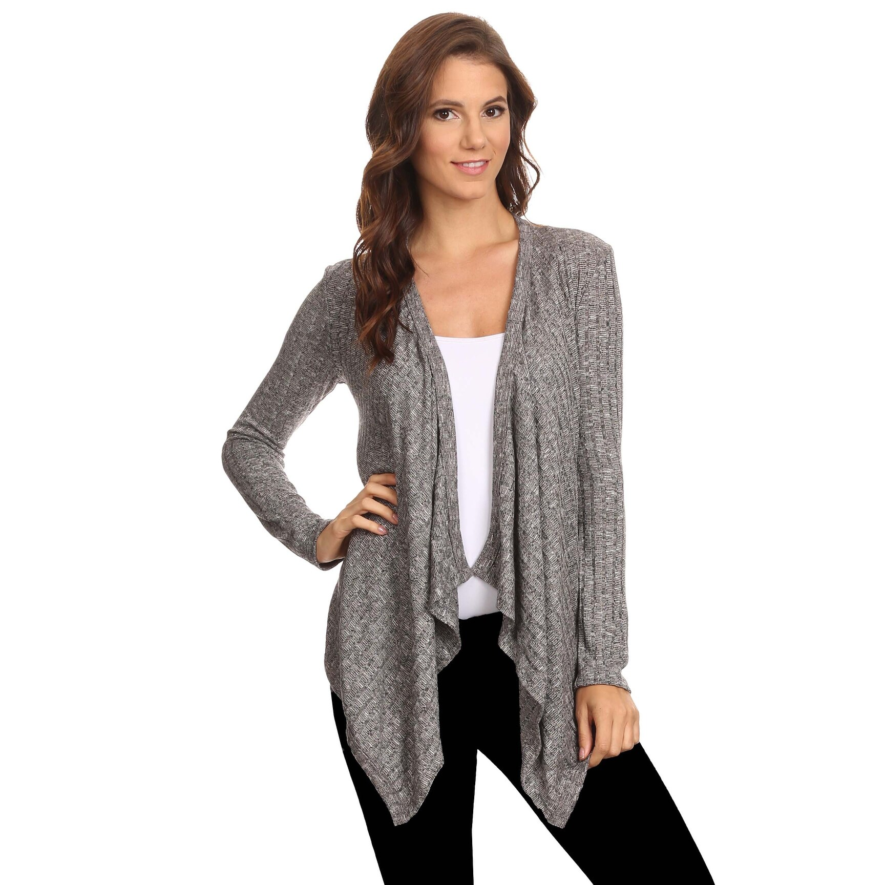 Sharon's Outlet Women's Ribbed Open Front Long Sleeve Cardigan Small to 3XL Made in USA - Thumbnail 0