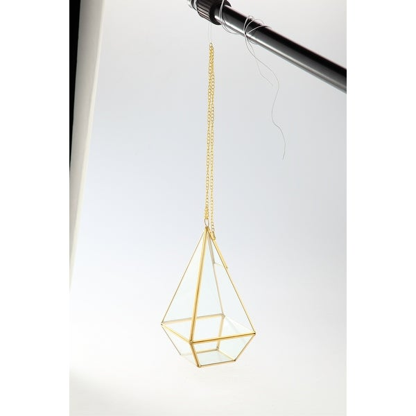 """9"""" Clear and Gold Colored Terrarium Hanging Glass Planters - N/A"""