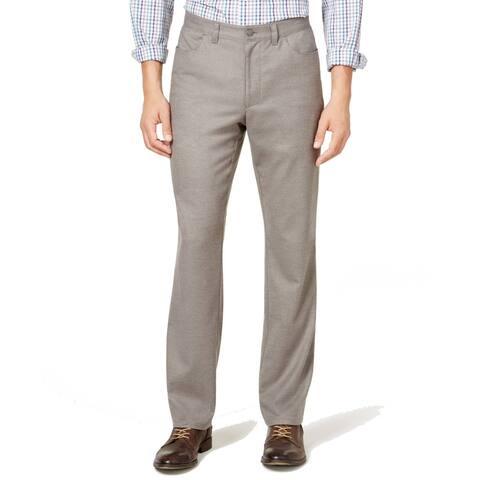 Alfani Big & Tall Men's Soft-Touch Stretch Flat-Front Dress Pants, Grey, 38W/32L